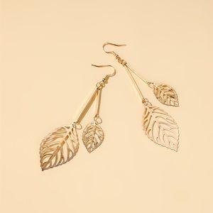 Boho Festival Gold Hollow Leaf Earrings